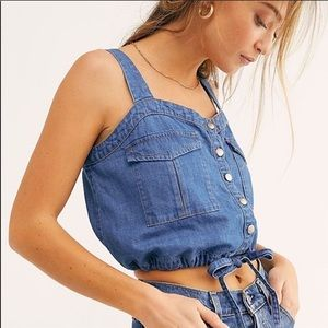 Free People Palm Desert Denim Crop Tank Top Blue